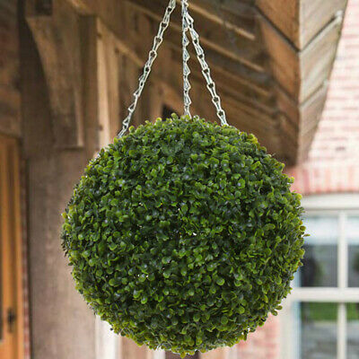 Green Artificial Boxwood Leaves Ball Hanging Basket UV Fade Protected Home Decor