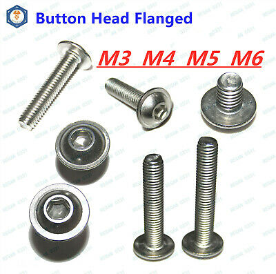 M6 304 Stainless Steel Button Head Hex Socket Flange Head Washer Screws Bolts
