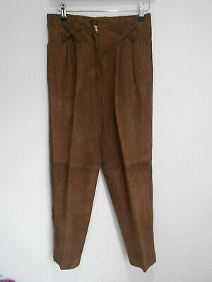 Vintage 80s textured brown leather high waist tapered trousers 8 10 VGC casual