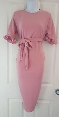 Womens Boohoo Maternity midi Dress size 10 pink tie waist party occasion vgc