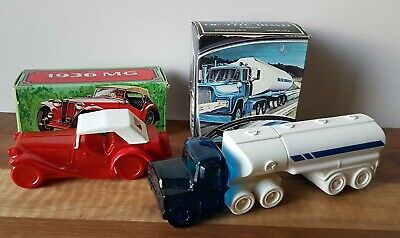 Vintage Collectable Avon Aftershave Bottles x 2 King Of The Road 1936 MG & Boxes