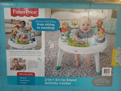 NEW Fisher Price SPIN N PLAY SAFARI 2-in-1 Sit-to-Stand Baby Activity Center