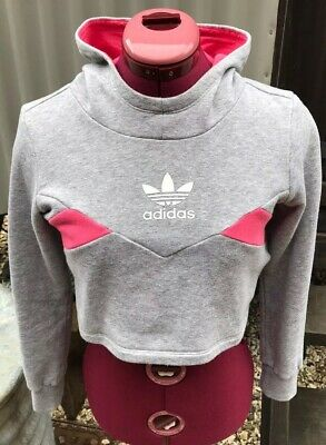 Girls Adidas Original Cropped Hoodie Grey And Pink Size 9-10