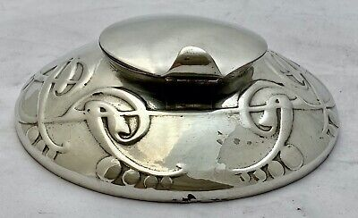 fine Liberty & Co Tudric art nouveau pewter ink well & liner Archibald Knox 0521
