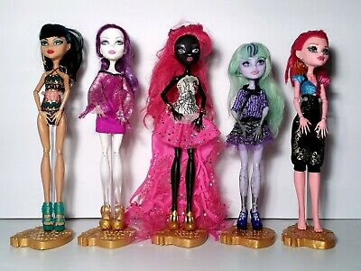 Monster High 13 Wishes Lot of 5 Gigi Catty Twyla Cleo Spectra Dolls Mattel