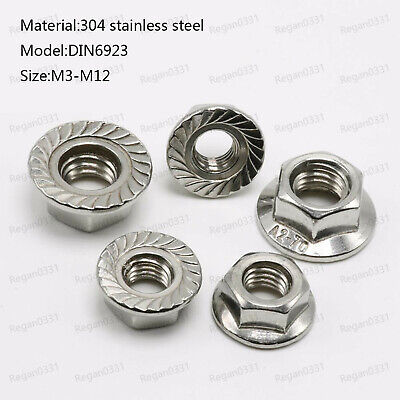 M3 M4 M5 M6 M8 M10 M12 Stainless steel Hex Serrated Flange Nuts Hex Lock Nuts