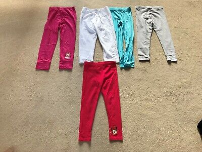 Six Pairs Of Assorted Girls Leggings Age 5/7 Approx