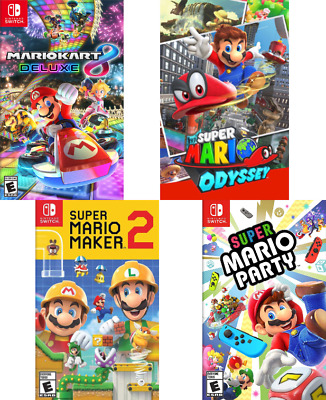 (4) Brand New NINTENDO SWITCH Games MARIOKART SUPER MARIO ODYSSEY MAKER 2 PARTY