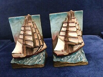 1920's Art Deco Cast Iron Bookends Hubley ClIpper Ship Original Polychrome Paint
