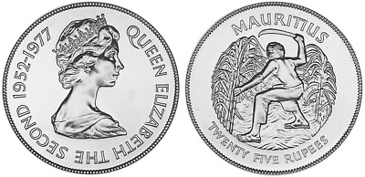 Mauritius 25 Rupees Harvest 1977 Queen's Silver Jubilee 1oz Silver Bullion Coin