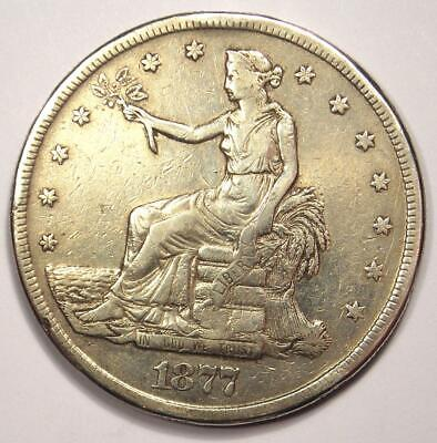1877-S Trade Silver Dollar T$1 - VF Details - Rare Early Type Coin!