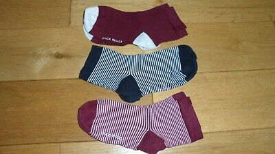 BNWOT Girls 3 X Jack Wills Ankle Socks, UK Shoe Size 12.5 - 3.5, EUR 31-36