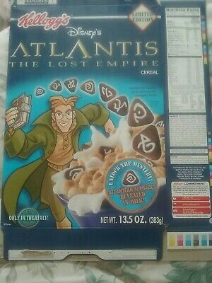 2001 Atlantis (The Lost Empire) Cereal Box - Limited Edition - Kellogg's