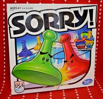 NEW Game SORRY Ages 6+ Family Hasbro Vacation Gift Fire & ICE Power Ups TOY Play
