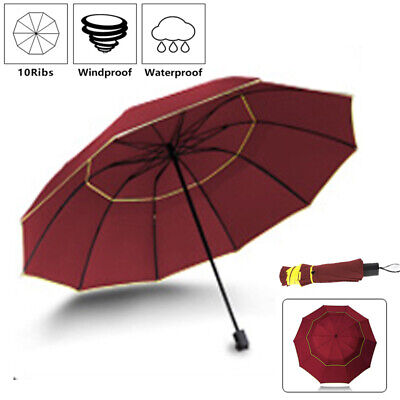 Red Umbrella Windproof Storm Travel Compact Folding UV Blocking For Mens Womens