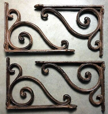 SET OF 4 RUSTIC BROWN SCROLL BRACE SHELF BRACKET vintage style