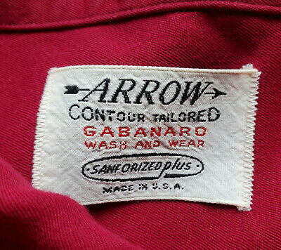 RARE! 17 34 Vtg 50s 60'S ARROW RAYON LOOP COLLAR rockabilly gab rayon SANFORIZED