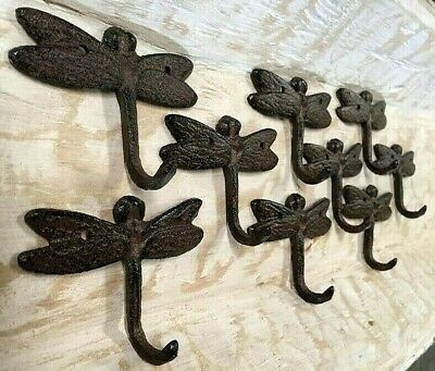SET OF 9 DRAGONFLY HOOKS rustic antique bronze brown cast iron tail hooks