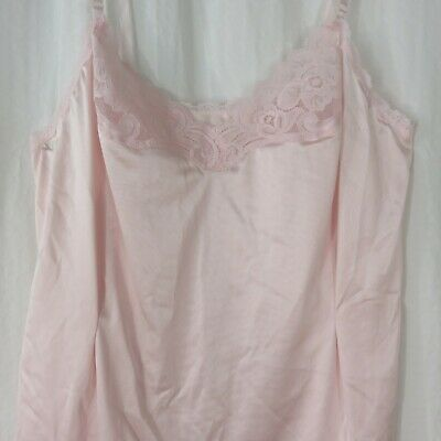 Vintage Vanity Fair Size 36 Pink Nylon Lace Camisole Slip Top New Old Stock USA