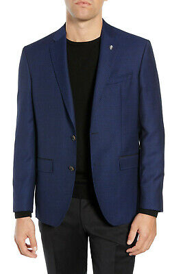 Ted Baker London Jed Navy Pindot Trim Fit Wool Suit Separates Sport Coat, 40R