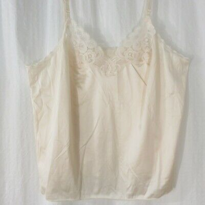 Vintage Vanity Fair Size 38 Beige Nylon Lace Camisole New Old Stock Made in USA