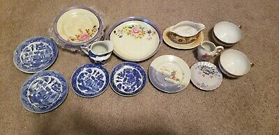 Antique Child's China 18 Pieces from Japan- Blue willow, Lusterware, more.