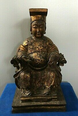 Antiques Chinese Hand Carved Wood Statue (Emperor?) With Pattern Outline in Gold