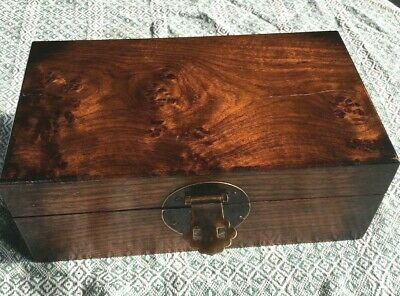 24.5 cm Old Chinese Huang Hua Li Wood Storage Jewelry Box Treasure Case