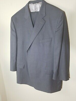 Jack Victor Men's Suit 54R Grey 100% Wool Made in Canada Big & Tall