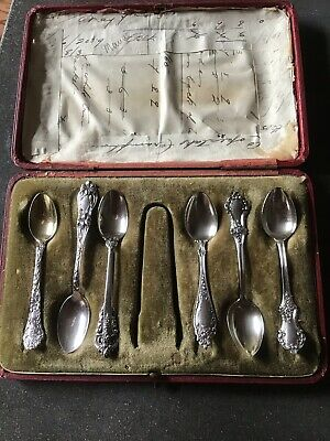 Box SET 6 Ornate Sterling Silver Demitasse Spoons Whiting Gorham Wallace Floral