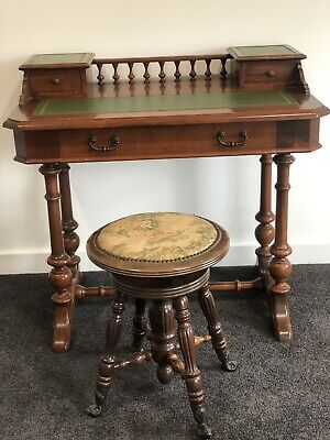 Antique Desk Old Style Leather Top Study Table With Stool