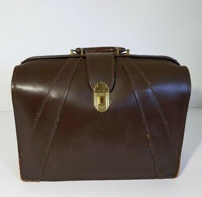 Vtg Antique Art Deco - The Leather Specialty Co. Leather Briefcase Doctor's Bag