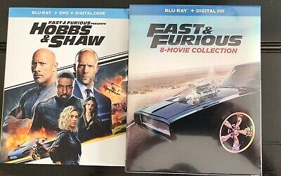 Fast and Furious: 8-Movie Collection (Blu-ray + Digital) New + Hobbs & Shaw