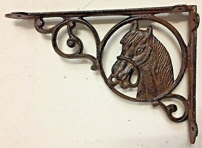 SET OF 4 WESTERN HORSE HEAD SHELF BRACKET BRACE, Rustic Brown Finish cast iron