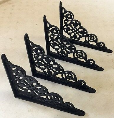 SET OF 4 VICTORIAN FLORAL PATTERN BRACKETS Antique Styled cast iron braces BLACK