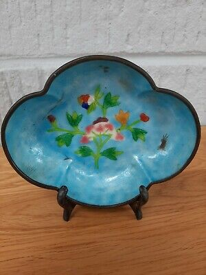 Early 20Th Century Cloisonne Dish. Beautiful Blue. L 14Cm + Stand*Last Listing*