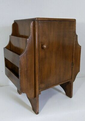 Antique Art Deco Cabinet/Table with Side Magazine/Newspaper Racks Solid Wood