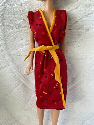 Vintage Barbie Doll Fashion Collectibles #1903 Red And Gold WRAP DRESS