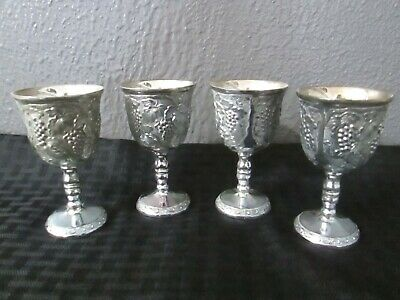 Set Of 4 Vintage Silverplate Small Wine Goblets