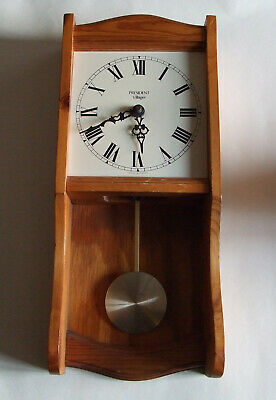 Vintage 1980s pine wall clock with pendulum President Villager Quartz  working