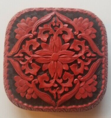 Carved Floral Cinnabar Red & Black With Blue Enameled Brass Square Trinket Box