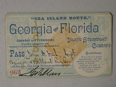 1884 Inland Steamboat Co. Annual Pass - Railroad Related