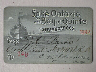 1892 Lake Ontario & Bay of Quinte Annual Steamboat Pass - Railroad Related