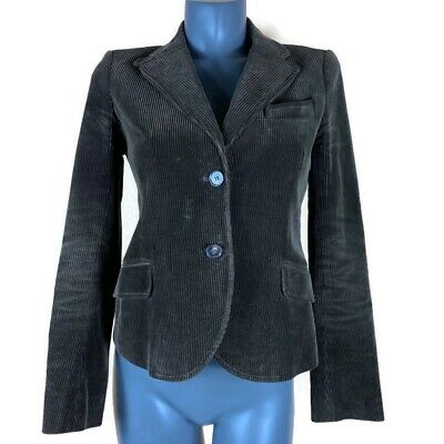 Theory Womens Corduroy Blazer Jacket Size 10 Forest Green 2 Button