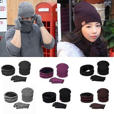 Mens Womens Knitted Fleece Winter Beanies Cap Hat Scarf Neck Warmer Gloves Set