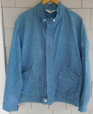 Vintage Men's WOOLRICH Light Blue DENIM JACKET, Coat 1980's - Size LARGE, XL