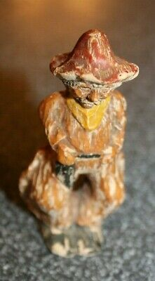 """Antique Don Quixote Sancho Detailed Hand Carved Wood Statue Figure mini 3"""" tall"""
