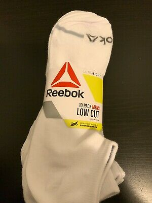 WHITE Reebok Low Cut Mens 10 Pack Ultralight Feather Weight Athletic Socks NEW