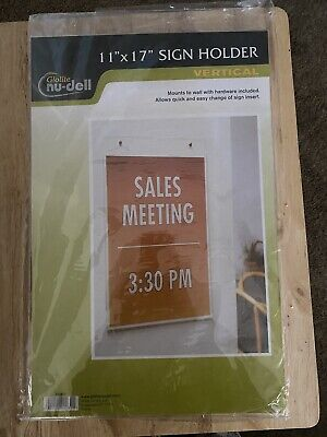 NuDell Clear Plastic Sign Holder Wall Mount 11 x 17 Clear