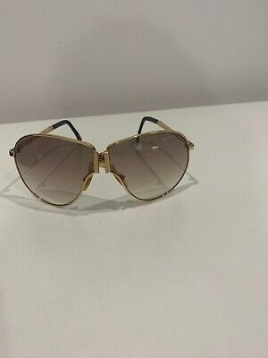 Vintage 70's Space Shuttle by Omyl AUTH Folding Gold Metal Aviator Sunglasses